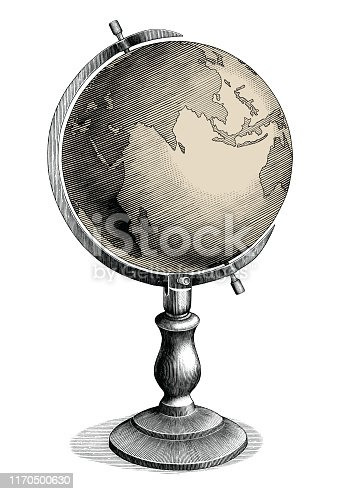 Antique celestial globe hand drawing vintage style black and white clip art isolated on white background,Celestial globe for education