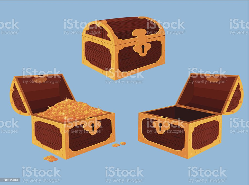Antique chest set vector art illustration