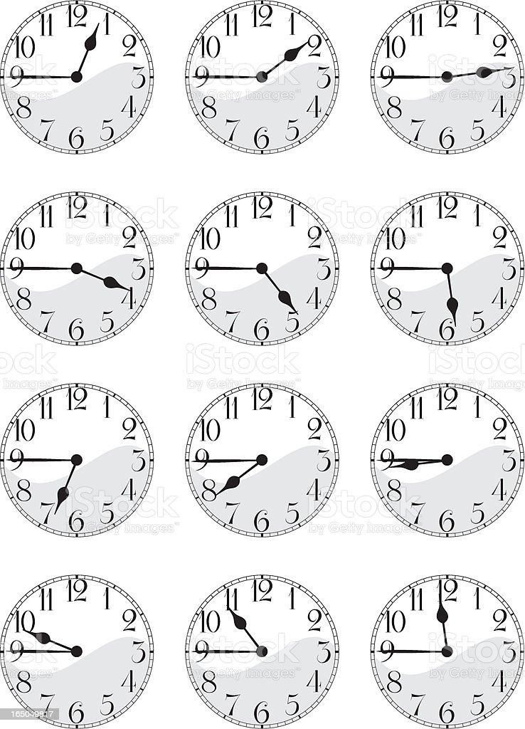 Antique Clock Face Set- Quarter-to vector art illustration