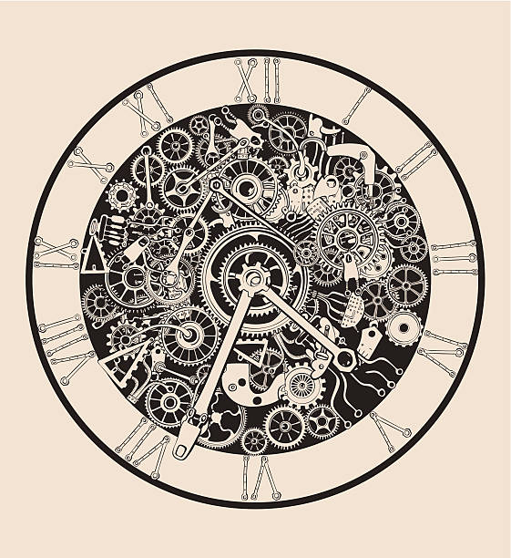 Antique Clock made of selectable ungroupable metal parts and cogs vector art illustration