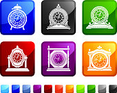 Antique Clock royalty free vector icon set stickers