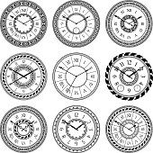 Antique clocks isolate on white. Vintage watch on wall. Vector pictures set. Time watch and antique clock dial illustration