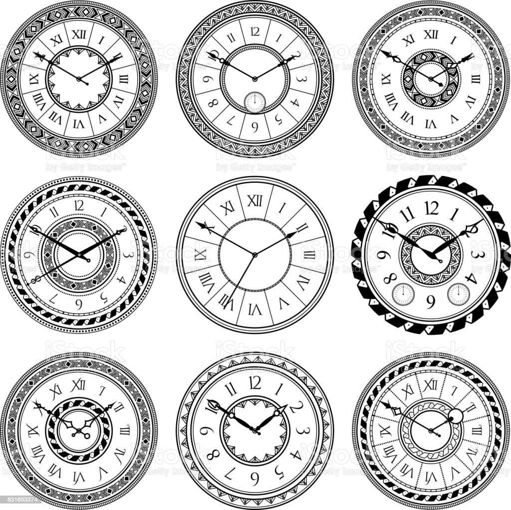 Antique clocks isolate on white. Vintage watch on wall. Vector pictures set vector art illustration