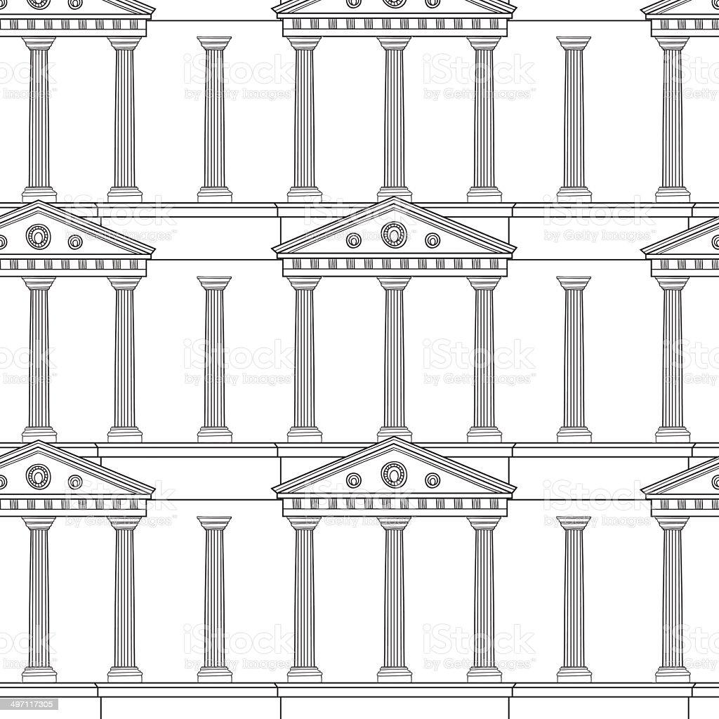 Antique colonnade pattern vector art illustration