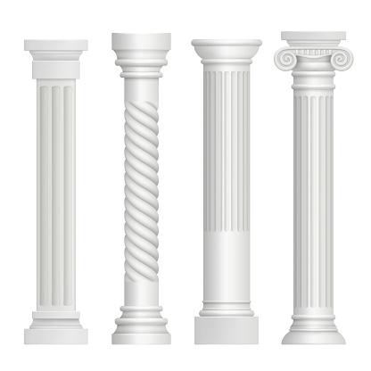 Antique column. Historical greek pillars ancient building architecture art sculpture vector realistic pictures