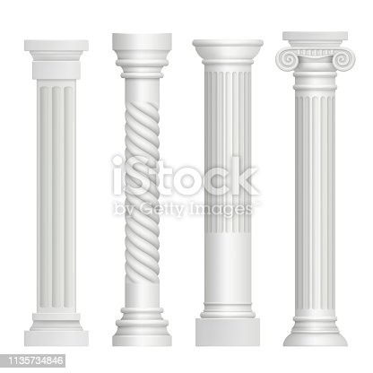 Antique column. Historical greek pillars ancient building architecture art sculpture vector realistic pictures. Illustration of pedestal greece, antique stable and pillar