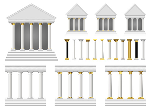Antique columns and temple vector design illustration isolated on white background
