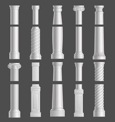 Antique columns set isolated on grey background.