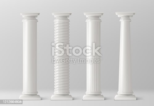 Antique pillars set isolated on white background. Ancient classic stone columns of roman or greece architecture with twisted and groove ornament for interior facade design Realistic 3d vector mockup