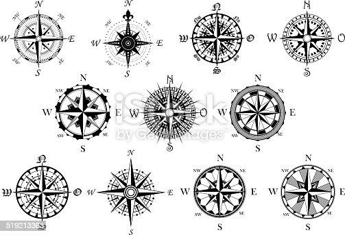 Antique Compasses Symbols Set Stock Vector Art & More