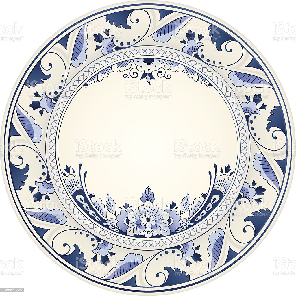 Antique Delft Blue Plate royalty-free stock vector art
