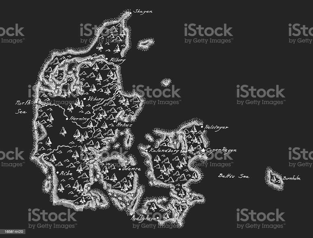 Antique Denmark Map royalty-free antique denmark map stock vector art & more images of aging process