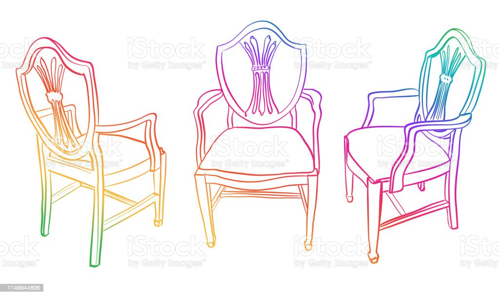 Antique dining chair with arms viewed from three different angles