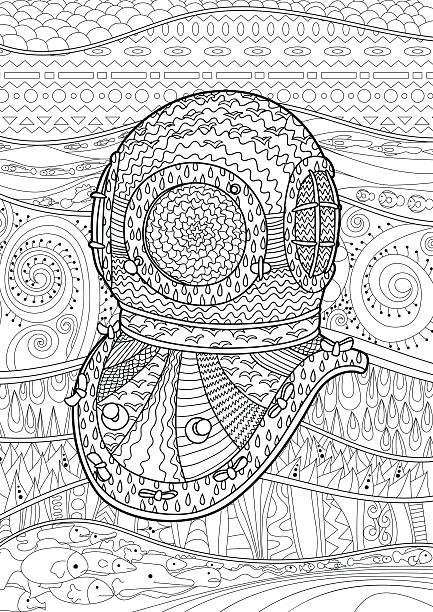 Antique divers helmet hand draw with high details. vector art illustration