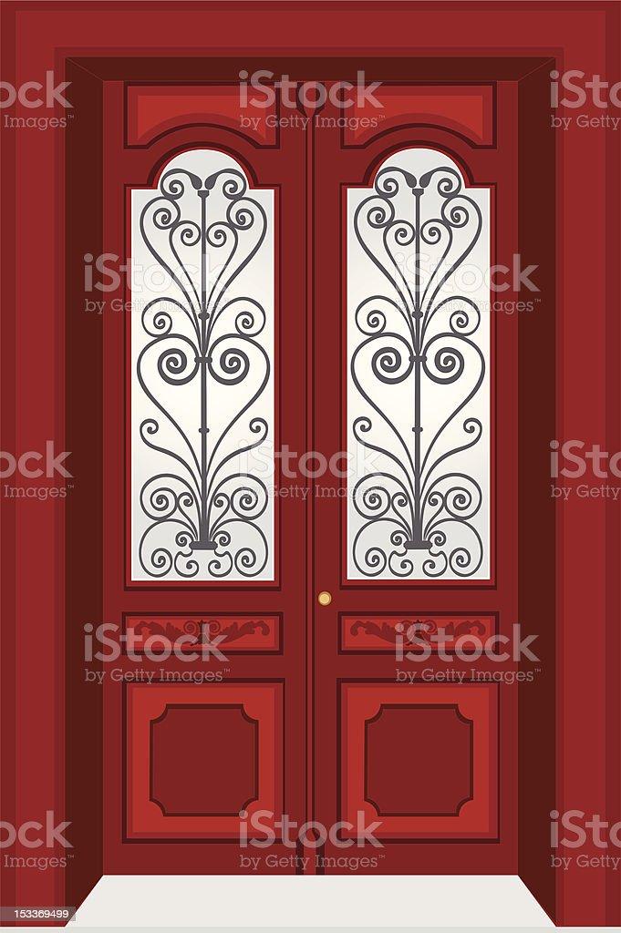 Antique door vector art illustration