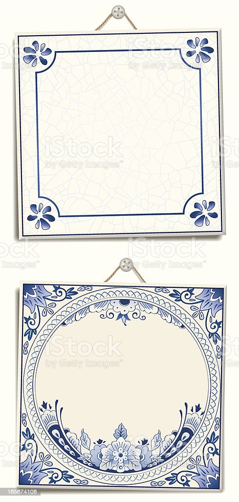 Antique Dutch Delft Blue text tiles royalty-free stock vector art