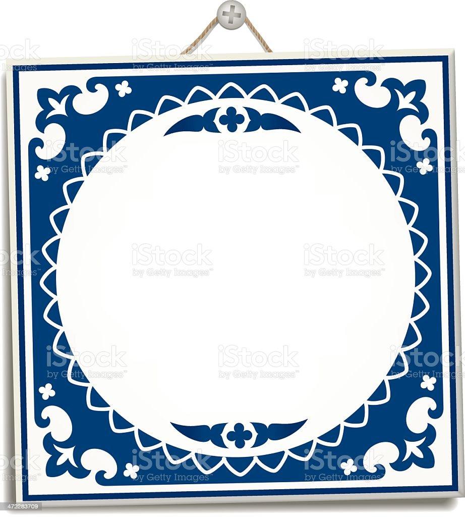 Antique Dutch Delft Blue tile royalty-free stock vector art