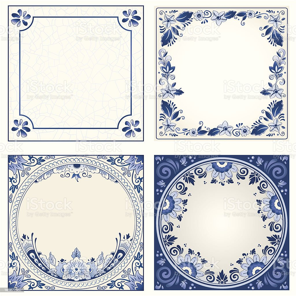 Antique Dutch Delft Blue tiles vector art illustration
