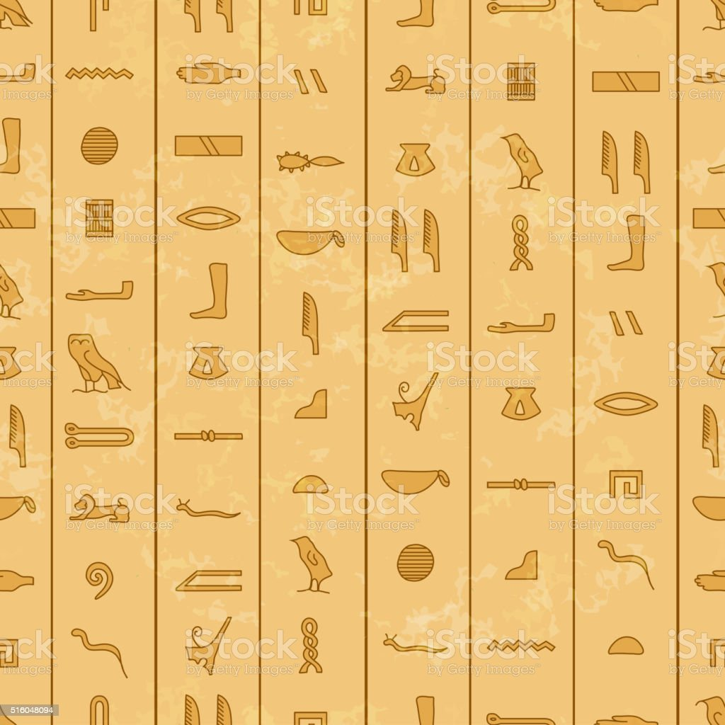Antique egyptian hieroglyphics, seamless pattern vector art illustration