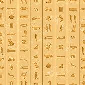 Antique egyptian hieroglyphics, seamless pattern