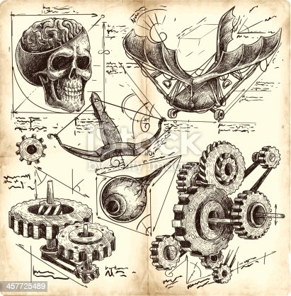 antique engineering drawings in Leonardo da Vinci style