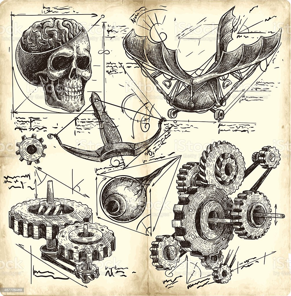 antique engineering drawings vector art illustration