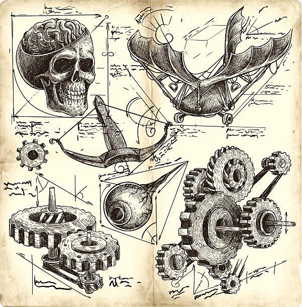 Antigo desenhos de engenharia - ilustração de arte em vetor