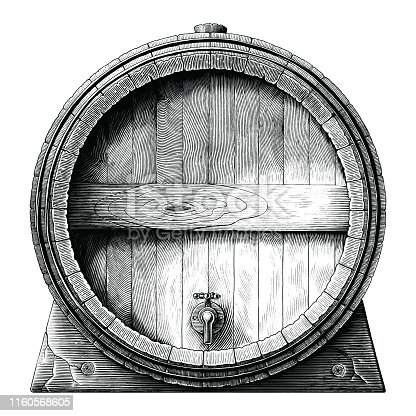 Antique engraving illustration of Oak barrel hand drawing black and white clip art isolated on white background,Alcoholic fermentation barrel