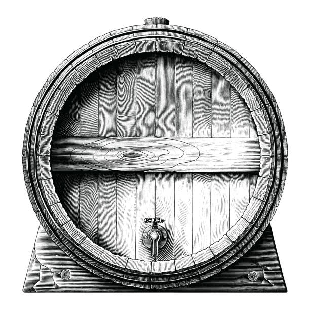 illustrazioni stock, clip art, cartoni animati e icone di tendenza di antique engraving illustration of oak barrel hand drawing black and white clip art isolated on white background,alcoholic fermentation barrel - cask