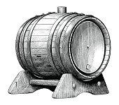 Antique engraving illustration of Oak barrel hand drawing black and white clip art isolated on white background,Alcoholic fermentation oak barrel