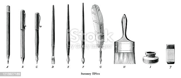Antique engraving illustration of stationery set drawing in vintage style black and white clip art isolated on white background