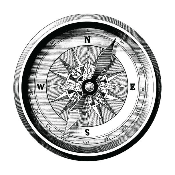 antique engraving illustration of vintage compass black and white clip art isolated on white background,compass of travel and sea way - граттаж stock illustrations