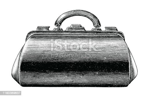 Antique engraving illustration of vintage medical bag hand draw black and white clip art isolated on white background,First aid medical bag