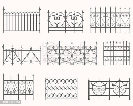 Vector set of historic iron fences.