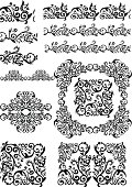 antique floral abstract frames, borders, brushes
