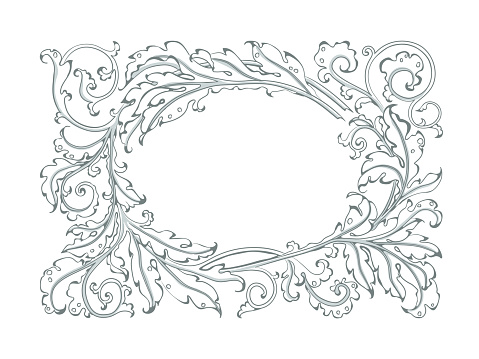 antique frame in style baroque of acanthus leaves monogram floral ornament stock illustration download image now istock antique frame in style baroque of acanthus leaves monogram floral ornament stock illustration download image now istock