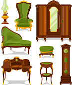 Antique furniture in cartoon style. Vector illustrations isolate