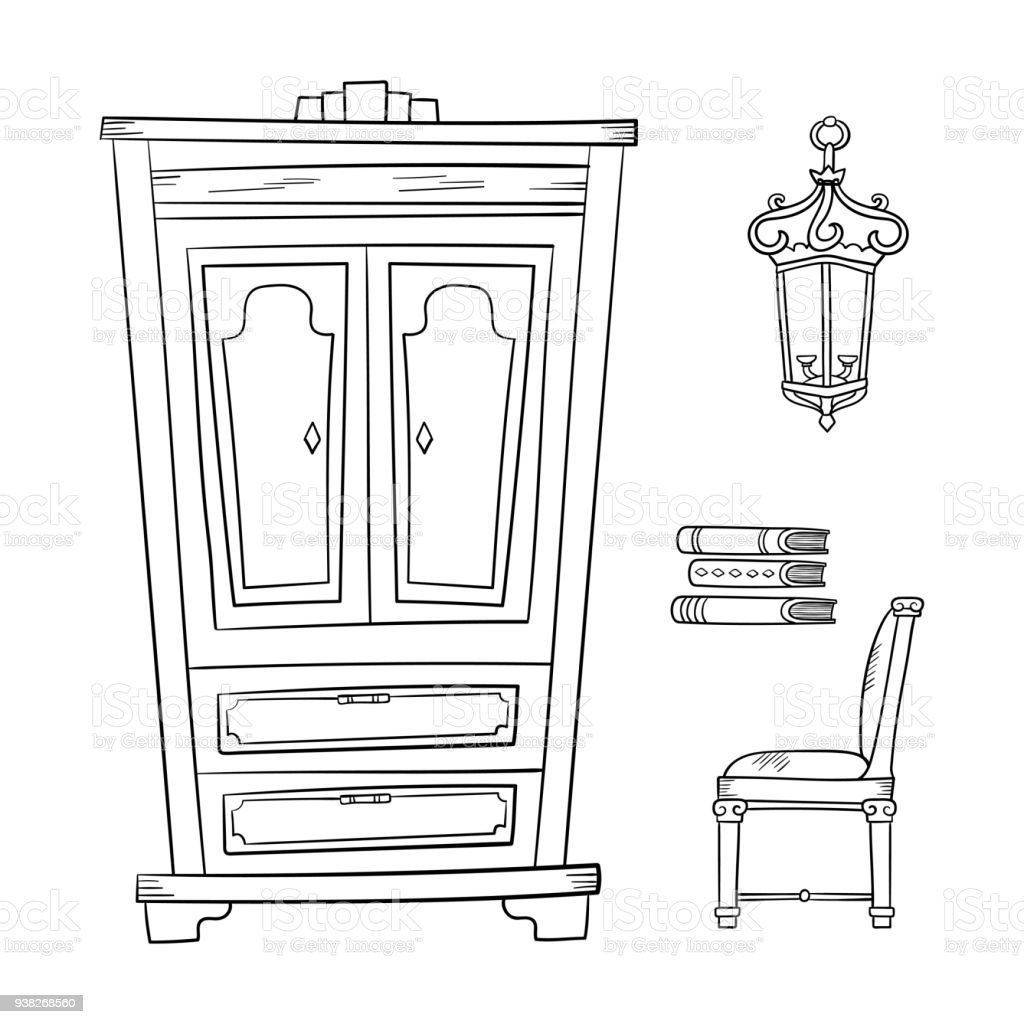 Antique Furniture Set   Closet, Lamp, Book And Chairs Isolated On  Royalty Free