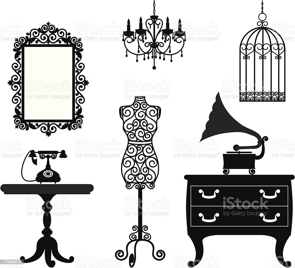 Antique furniture vector art illustration