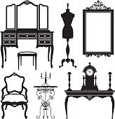 Set of vector illustrations with old furnitures