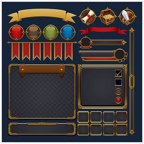antique gaming graphic elements A set of medieval gaming icons and graphic elements. leisure games stock illustrations
