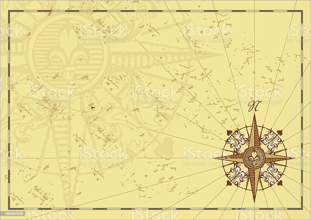 Antique geographic motif with windrose vector art illustration
