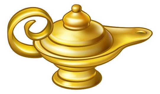 Antike Gold Aladdin Magische Lampe Stock Vektor Art und mehr