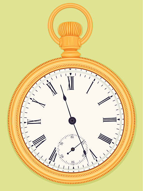 Antique gold pocket watch vector art illustration