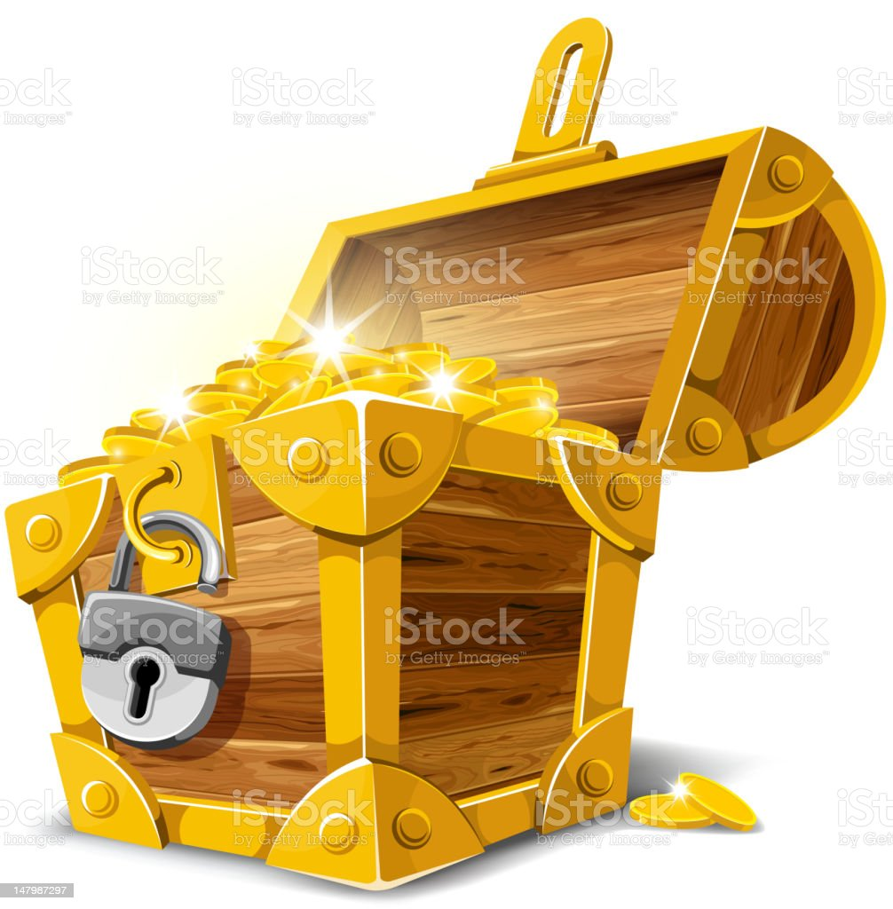 Antique gold treasure chest vector illustration vector art illustration
