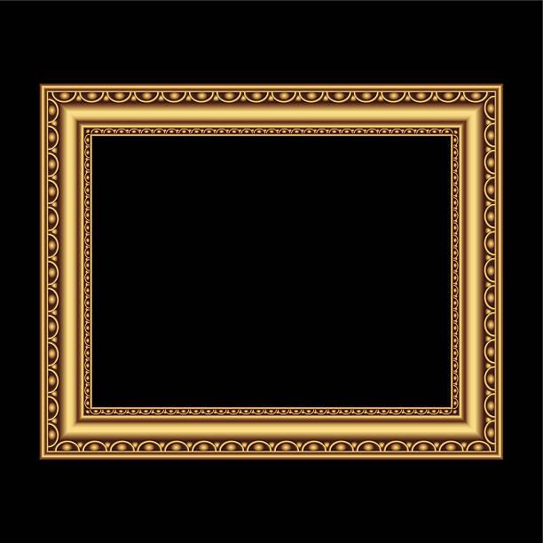 ilustraciones, imágenes clip art, dibujos animados e iconos de stock de marco dorado antiguo - bordes de marcos de fotografías