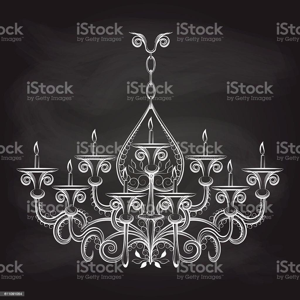 Antique gothic chandeliar sketch on chalkboard vector art illustration