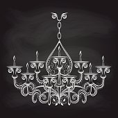 Antique gothic chandeliar sketch on chalkboard