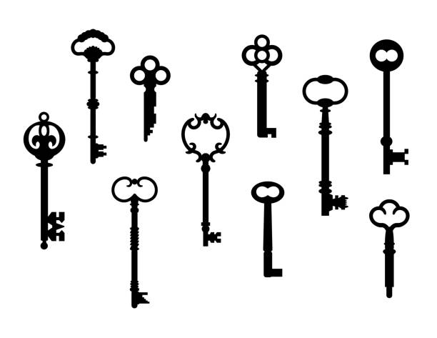 antique key collection - klucz stock illustrations