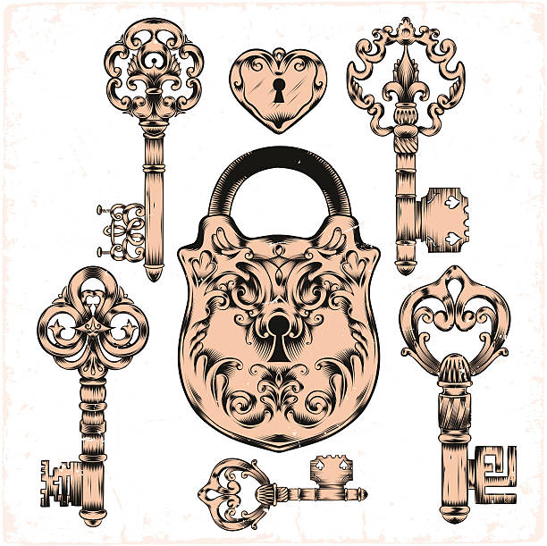 Royalty free antique key clip art vector images for Antique key art
